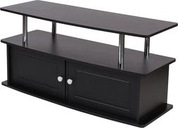 EVANSTON BLACK TV STAND WITH SHELVES, CABINET AND STAINLESS