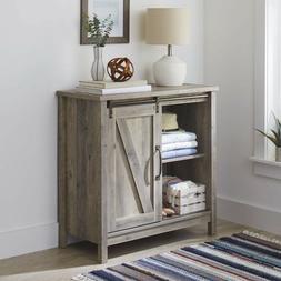 Farmhouse Accent Storage Cabinet Barn Doors Rustic Bedroom B