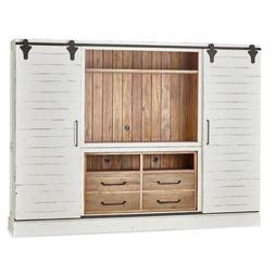 Farmhouse Rustic Media Center Sliding Door TV Cabinet   B