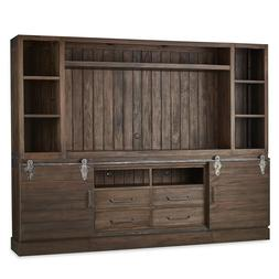 Farmhouse TV Media Center Wall Unit Cabinet Sliding Doors En