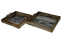 Cheung's 4560-2 Faux Marble Square Trays with Side Chrome Ha