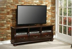 ACME Faysnow Vintage Dark Brown Top Grain Leather TV Stand
