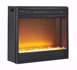 Entertainment Accessories Fireplace Insert Glass/Stone Black