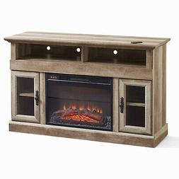 "Beautiful Fireplace Media Console 60"" TV Safety-Tempered Gla"