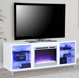 Fireplace TV Stand White 65 inch Media Console LED Light Rem