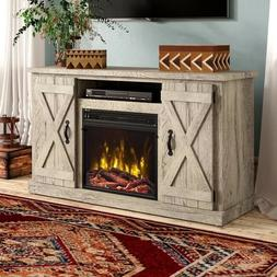 Fireplace TV Stand Electric Rustic Storage Wood Barn Door Co