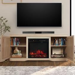 Fireplace TV Stand with Barn Door, Media Entertainment Conso