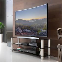 Fitueyes 3-tier Curved Tv Stand with Tempered Glass for 32-5