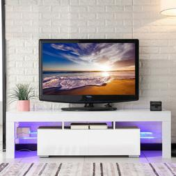 "63"" High Gloss White TV Stand Cabinet Console Furniture w/ L"