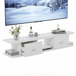 Tribesigns Floating TV Shelf White Wall Mounted Media Stand