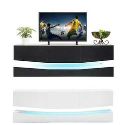 Floating TV Stand High Gloss Cabinet Console Furniture w/LED