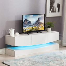 Mecor Floating TV Stand LED Lights, 59 Inch Wall Mount Enter