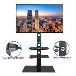 Floor TV Stand Swivel Mount with Console Shelf for 32 - 65 i