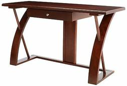 Roundhill Furniture Solid Wood Computer Desk, Cherry Brown