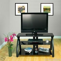 Calico Designs Futura TV Stand in Black with Black Glass 506