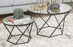 WE Furniture Geometric Glass Nesting Coffee Tables - black,