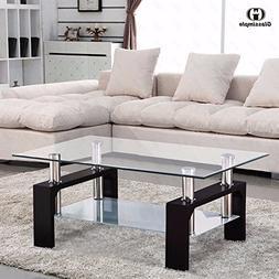 VIRREA Glass Coffee Table Shelf Chrome Base Living Room Furn