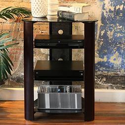 "WE Furniture 35"" Glass Media Storage Tower, Espresso"