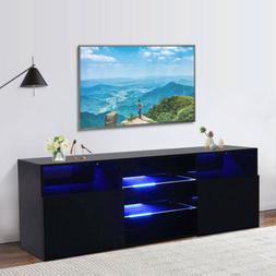 High Gloss Black LED TV Stand Unit 2 Drawers Cabinet Shelf C