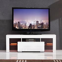 SUNCOO High Gloss White LED TV Stand Media Console Cabinet L