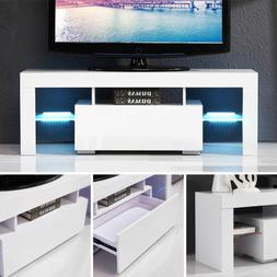 High Gloss White LED Shelves TV Stand Unit Cabinet Console F