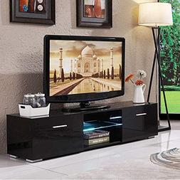 Mecor High Gloss TV Stand, TV Unit with LED Lights Console S