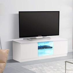 Mecor High Gloss TV Stand with LED Lights,Modern White TV St