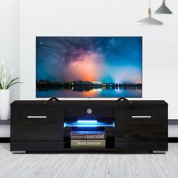 High Gloss Black TV Stand Unit Cabinet w/LED Shelves 2 Drawe