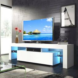 Modern White 63'' TV Stand Unit Cabinet w/ LED Light 2 Drawe