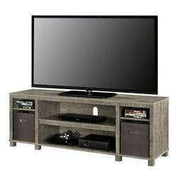 Gray TV Stand Console W/ 2-Bins Storage Home Entertainment C