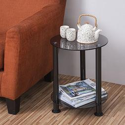 Fitueyes Grey Glass End Table Accent Side Table Coffee Table