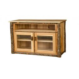 Rustic Hickory TV Stand with Glass Front Doors - Amish Made