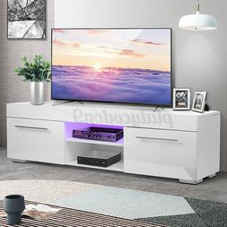 High Gloss 2 Drawer TV Stand Cabinet w/LED Light Entertainme