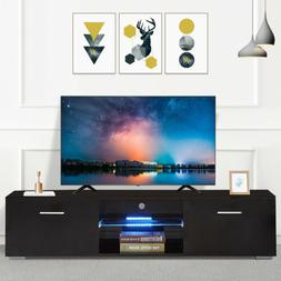 63'' High Gloss Black TV Stand Cabinet Console Furniture 2 D