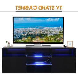 High Gloss Black LED TV Stand Unit 2 Shelves & Doors Cabinet