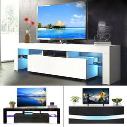 Modern LED Light TV Stand Unit Console Cabinet with Shelves