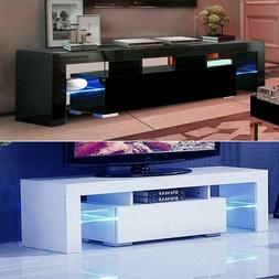 High Gloss LED Light TV Stand w/Drawer Unit Console Cabinet