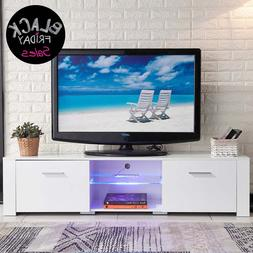 High Gloss Modern TV Stand White Unit Cabinet LED Light + 2