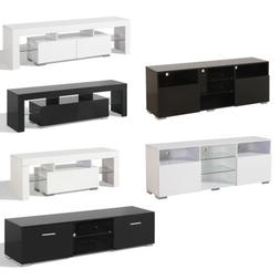 High Gloss TV Stand Cabinet LED Shelves Entertainment Units