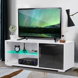 High Gloss TV Stand Cabinet Unit w/LED Light Shelves Modern