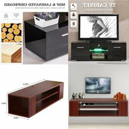 High Gloss TV Stand LED Shelves Unit Cabinet 2 Drawers Conso