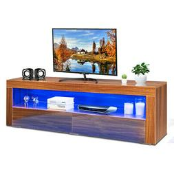 High Gloss TV Stand Media Entertainment w/LED Lights & Drawe