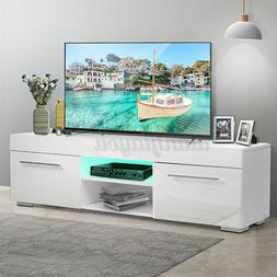 High Gloss TV Stand Unit Cabinet 2 Drawer w/LED Light Entert