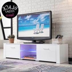 High Gloss TV Stand Unit Cabinet with LED Shelves 2 Drawers