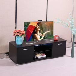 High Gloss TV Stand Unit Cabinet with LED Light Shelves 2 Dr