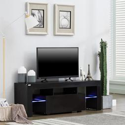High Gloss TV Stand Unit Cabinet Console Furniture w/LED She