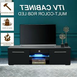High Gloss TV Stand Unit Cabinet with LED Lights Shelves Liv