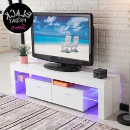 High Gloss TV Stand White Unit Cabinet Console w/LED Shelves