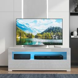 High Gloss TV Stand with LED Lights 2 Drawers Console Table