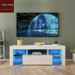 "51"" High Gloss White TV Stand Cabinet Console Furniture w/ L"